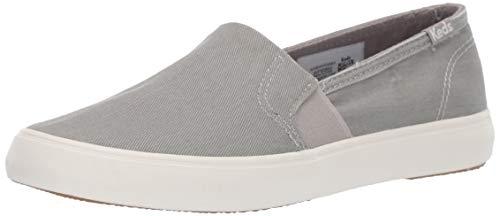 Keds Women's Clipper WASH Twill Sneaker, Light Grey, 9