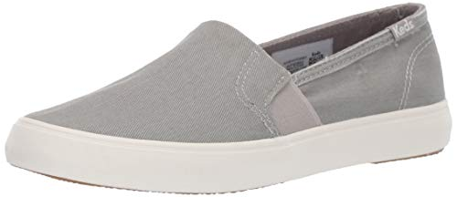 Keds Women's Clipper Washed Solids Sneaker, Light Grey, 8.5