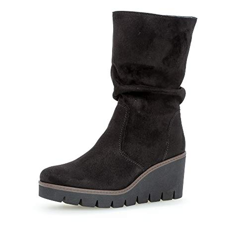 Gabor Damen Stiefel, Frauen Keilstiefel,Best Fitting,Reißverschluss, keil-Boots Keilabsatz Wedge reißverschluss,schwarz (Cognac),42.5 EU / 8.5 UK