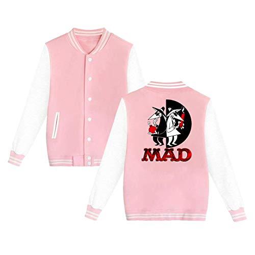 Lanmei Spy Vs Spy Unisex Hipster Baseball Uniform Jacket Sport Coat Pink