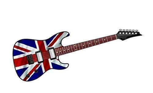 Cool Eléctrico Guitarra Diseño con Bandera Británica Union Jack Motivo Vinilo Pegatina...
