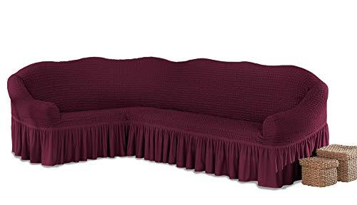 My Palace Beatrice elastischer Ecksofabezug mit Anti-rutsch Schaumstoffankern L-Form Sofahusse Eckcouch Cover Sofa Überwurf Spannbezug, Weinrot