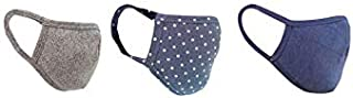 nestroots Cotton Washable Reusable Face Masks with Soft Earloop for Men, Women, Kids (Grey, Polka Dot and Navy Blue) -Pack of 3