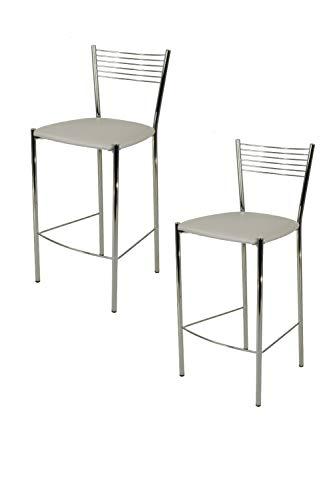 Tommychairs - Set 2 sgabelli alti modello Elegance per cucina e bar, struttura in acciaio cromato e seduta imbottita e rivestita in pelle artificiale colore grigio chiaro
