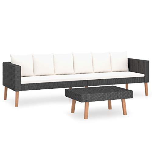vidaXL Set de Muebles de Jardín 2 Piezas y Cojines Mobiliario Exterior Hogar Cocina Terraza Mesa Silla Asiento Suave Respaldo Ratán Sintético Negro