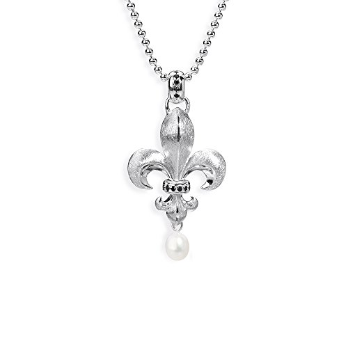 Heartbreaker Französische Lilie- Anhänger Flys 925 Silber Perle Brillantschliff Zirkonia Süßwasser- Zuchtperle weiß LD FL 31
