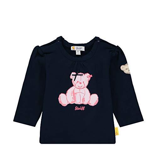 Steiff Baby-Mädchen mit Schleife und Teddybärmotiv Sweatshirt, Blau (Black Iris 3032), 68 (Herstellergröße: 068)