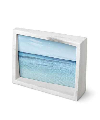 Umbra 1013910-1125 Edge Resin Picture Frame and Photo Display for Desk or Table Top, 5x7, White Marble