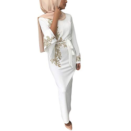 zhangcr Abaya Robe Damen Muslimische Dubai Abaya Lange Ärmel Maxikleid Floral Spitze Perlenstickerei Hijab Kaftan