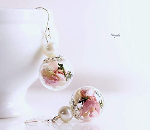 Silber Ohrringe Rosenblätter und Moos mit Perle / 925 / Geschenk für Verliebte/Geschenk für Sie/Beste Freundin/Verlobte/Mutter