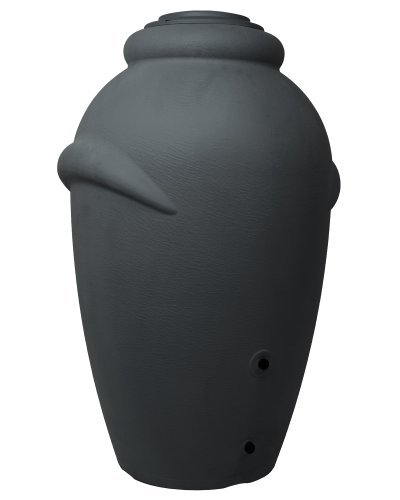 Ondis24 Regenwassertonne Regentonne Wasserfass Regenspeicher Wasserbehälter Amphore Anthrazit aus Kunststoff mit 360 Liter Fassungsvermögen
