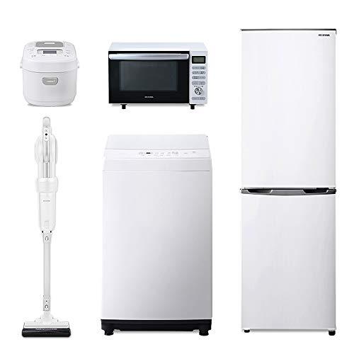 【新生活5点セット買い】アイリスオーヤマ 洗濯機 6kg + 冷蔵庫 162L + 全国対応 オーブンレンジ 18L + 炊飯器 3合 + キャニスティッククリーナー ホワイト