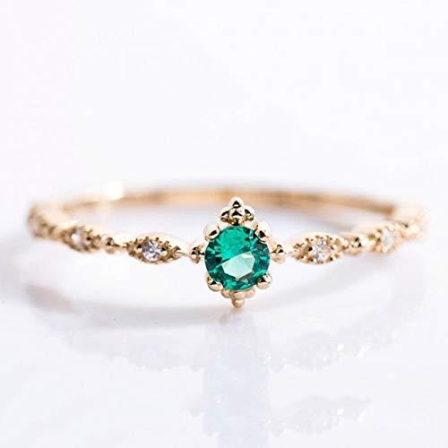 HYLJZ ring met groene stenen kristallen ring voor vrouwen meisjes huwelijk verloving verjaardag vingerringen verjaardagscadeau elegant