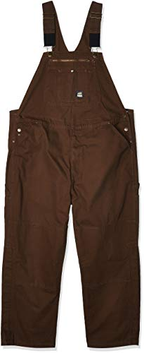 Berne Men's Big and Tall Big & Tall Unlined Washed Duck Bib Overall, Bark, 54X32