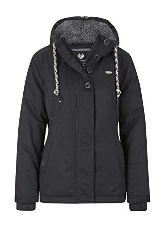 Ragwear Lynx Teddy Damen Frauen Winterjacke mit Kapuze,durchgängiges Futter, Monade, Regular Fit, wasserabweisend,Black(1010), XS