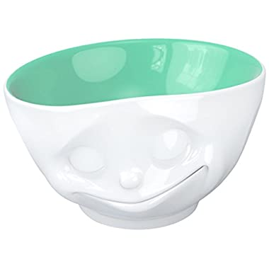 Fiftyeight TV Cups, Bowls, Happy, for Müsli and Desserts, Porcelain, Jade (Inside), 500ml