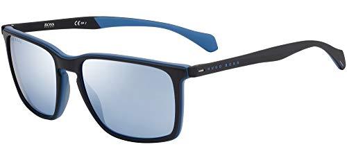 Hugo Boss Sonnenbrillen (BOSS-1114-S OVK3J) schwarz matt - blau matt - blau-grau - silber verspiegelt