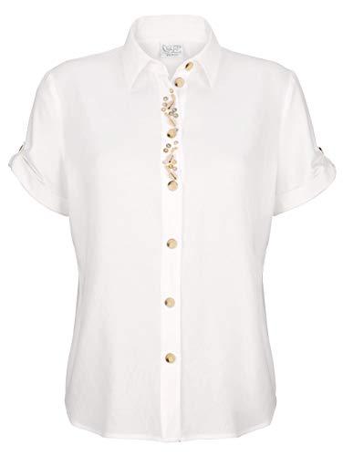 Just White Damen Bluse mit modischer Deko 38