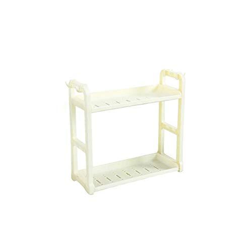 WAQAM Organizador de armario de cocina de 2 niveles, organizador de especias, estante de pie, organizador de almacenamiento de encimera de cocina, soporte para estante de especias (Color : White)