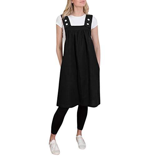 Lialbert Rundhals Camisole-Kleid Strap Dress Eckigem Ausschnitt Skaterkleid Swing-Kleid Tunika Kurzes Latzkleid ÄRmellos Vintage Strap Dress Maternity Party Rock Schwarz