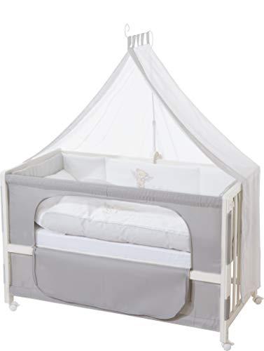 roba Lit d'allaitement, lit bébé 60x120cm laqué en blanc 'Heartbreaker', fixation au lit parental...