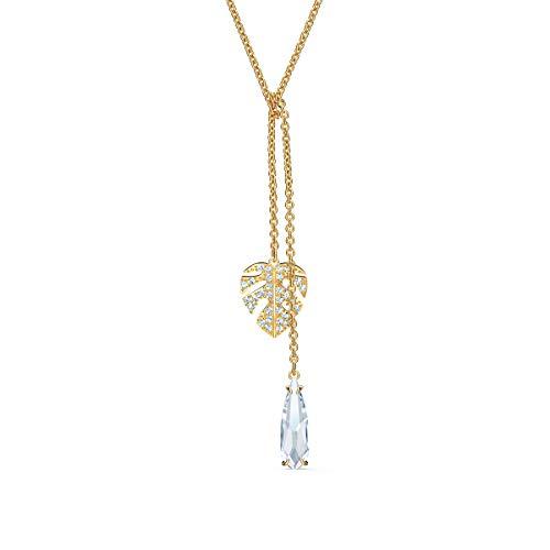 Swarovski Tropical Halskette, Vergoldete Damenhalskette mit Blatt-Anhänger und Funkelnden Swarovski Kristallen