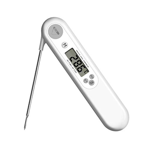 Termómetro Para Barbacoa Carne, Botella De Sonda Plegable Alimentos Termómetro De Agua 6 Segundos Medición Rápida De Temperatura Con Precisión De 0,1 ° C / 0,1 ° F,Blanco