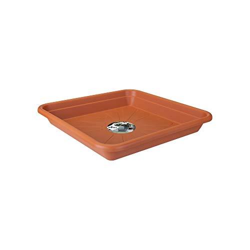 Elho Universal Untersetzer Viereckig 35 - Tonrot - Drinnen & Draußen - L 35 x W 35 x H 5.2 cm