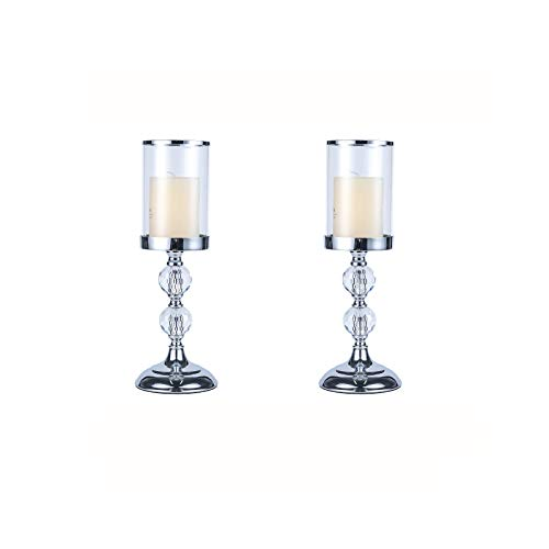 Pillar Candle Holder with Glass Lid, Crystal Candlesticks Holder for Pillar Candle, Candlestick Holder with Crystal Balls for Coffee Dining Table, Wedding, Christmas,Home Decor, Set of 2, CH015-2P