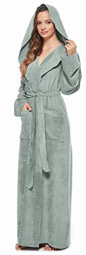 Arus Peignoir de Bain Femme Robe de Chambre esthétique à Capuche Extra Long Tissu en éponge 100% Coton, Vert Menthe, XL