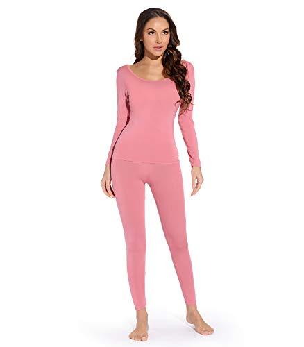 Mcilia Conjunto de Camiseta y Pantalones para Mujer de Ropa Interior Térmica Modal Ultradelgada con...