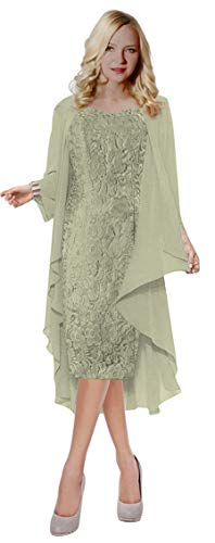 ThaliaDress Womens Lace Straps Mother of Bride Dress with Chiffon Shawl T107LF Sliver US16