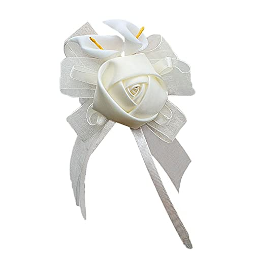 XiaoYing Accesorios de boda Pulsera de encaje ajustable para novia, dama de honor, cala, lirio, flor (color blanco lechoso, tamaño: 7 cm)