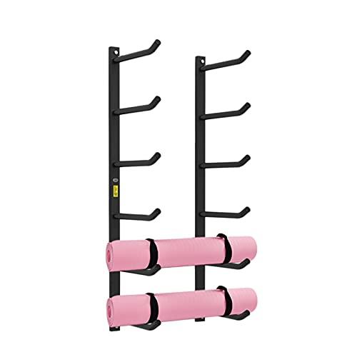 ZXXL Estante de la Estera de Yoga Soporte para Esterilla de Yoga para Montaje en Pared y Soporte para Rodillos de Espuma, Organizador de Almacenamiento de Metal Negro para Gimnasio/Estudio/Escuelas/E