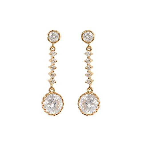 Pixnor - Coppia di orecchini in cristallo rotondo con zirconi, pendenti, a goccia, placcati oro