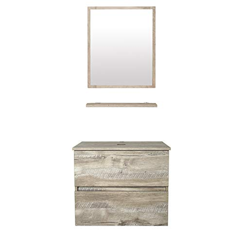 """eclife 24"""" Bathroom Vanity Cabinet Wall Mounted Natural Cabinet Two Drawers Pedestal Cabinet Vanity Set with Mirror"""