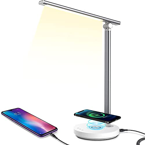 MDHAND Lámpara de escritorio LED de brillo ajustable, lámpara de mesa de control táctil LED, 5 niveles de brillo, con ahorro de energía [clase energética A ++] (Plata)