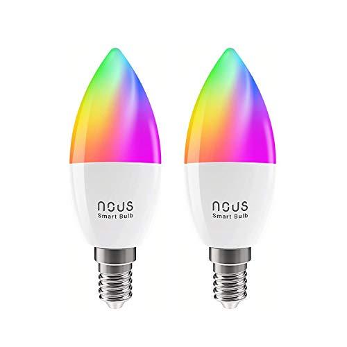 Nous P4 bombilla Led inteligente wifi e14 380lm. Luz fria-calida regulable. RGB habitacion decoración luces. Alexa, Google home, Tuya smart life domotica accesorios. Bombillas colores