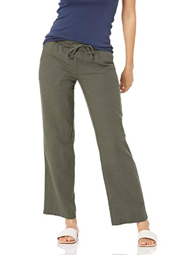 Amazon Essentials Women's Linen Blend Drawstring Wide Leg Pant, Dark Olive, Large