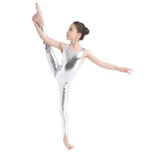 TiaoBug Kid's Metallic Sleeveless Long Sleeve Full Body Gymnastics Unitard Foil Costumes Lycra Spandex Tank Bodysuit Silver 10-12