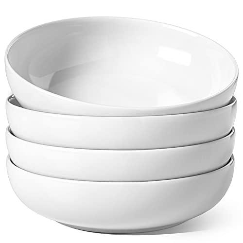LE TAUCI Large Salad Bowls, 45 Ounce Pasta Bowls and Serving Bowls, Soup Bowl, 8.5 Inch Ceramic Pasta Plates, Set of 4, White
