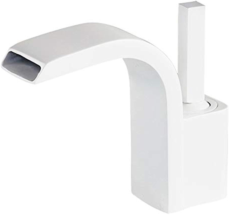 Tan Waschtischarmatur, 360-Grad-Drehgriff Wasserfall Deck Montiert Einlochmontage Moderne Waschtischmischbatterie, Messinggehuse,Weiß