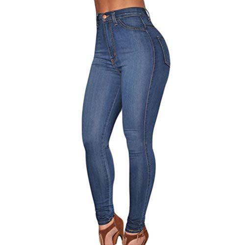 Calça jeans feminina skinny de cintura alta casual slim algodão azul média lavagem G