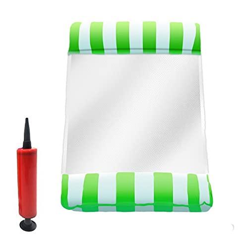 Reclinador de hamaca inflable de agua, colchón flotante inflable de la piscina del mar de la piscina de la fiesta de la fiesta de la fiesta para nadar (Color : Stripe green)