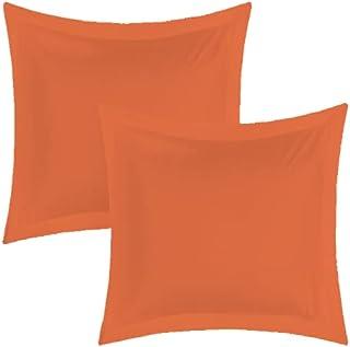 MATIN CALIN Lot de 2 Taies d'oreillers 63 x 63 cm Orange / 100% Coton 57 Fils/cm²