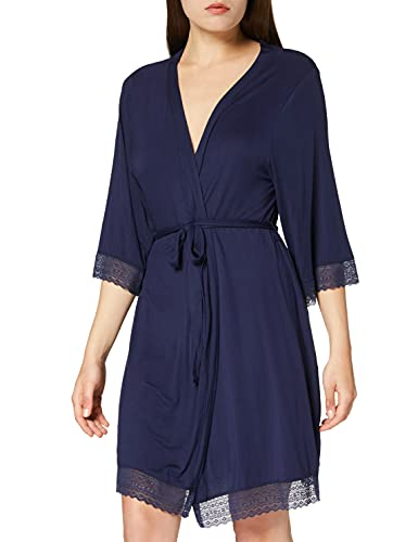 Marque Amazon - Iris & Lilly Robe de Chambre Longue en Coton Femme, Bleu (bleu marine)., M, Label: M