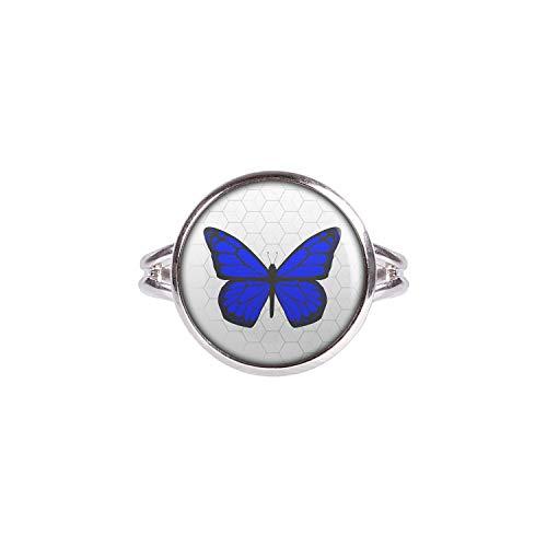 Mylery Ring mit Motiv Schmetterling Blau silber 14mm