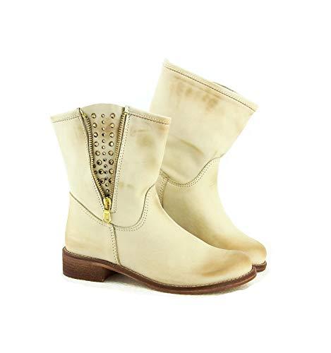 Ovye by Cristina Lucchi Echtleder Stiefel Stiefeletten Schuhe Ankle Boots Biker Cowboy Nieten Hand Made in Italy Gr.38