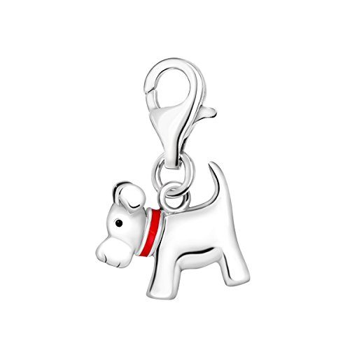 Quiges 925 Sterling Silver 3D Dog with Red Enamel Collar Lobster Clasp Charm Clip on Pendant