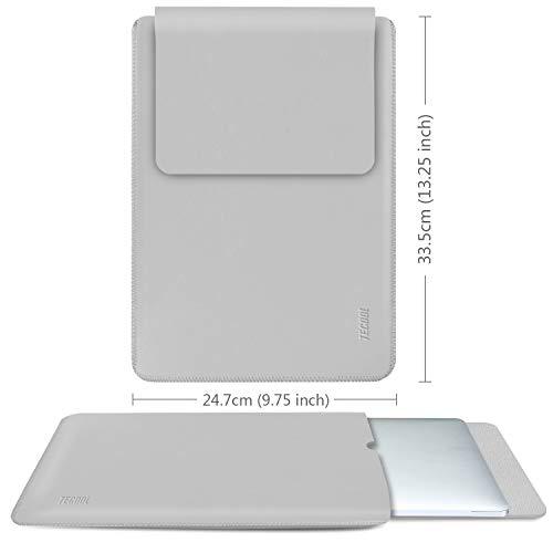 TECOOL Laptop Hülle 13 Zoll Tasche, Laptop Sleeve Kunstleder Schutzhülle Case für MacBook Air/Pro Retina 13,3, HP Envy x360, Huawei 13 MateBook E/X, ASUS Flip C302CA, Dell 13 XPS -HellGrau - 2